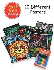 10 Different Designs Color-In Velvet Posters 8x10 in. with 8 Fine Tip Markers