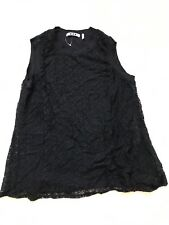 Three Dots Women's Lace Overlay  Sleeveless Top Stretchy Black Size L
