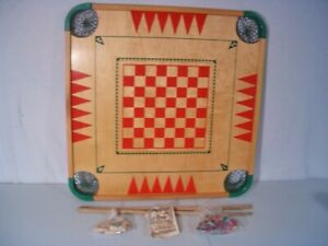 VINTAGE No 100 CARROM GAME BOARD-GAME PIECES CUES RULES BOOK from older version