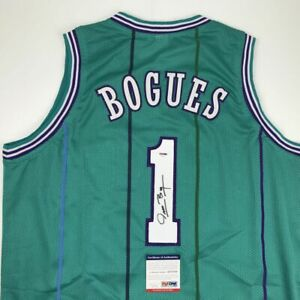 Autographed/Signed MUGGSY BOGUES Charlotte Teal Basketball Jersey PSA/DNA COA