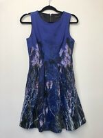 Portmans Womens Dress A-Line Fit and Flare Blue Print Business Size 8