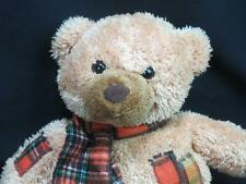 ADORABLE GOLDEN BROWN TEDDY BEAR PLAID FLANNEL PATCHES SCARF CALTOY PLUSH LOVEY