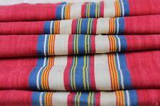 "Rare French Indigo and Red Cotton Ticking Fabric c1870~28""L X 42""W"