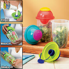Compac Blue 26 OZ Salad Blaster Cup - Dressing Lid Press & Shake To Go Container