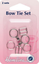 Bow Tie Set.  Fastenings & attachments for tying formal bow ties. Nickle 2 sets