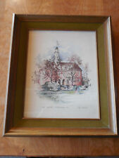 THE CAPITOL WILLIAMSBURG COBY CARLSON Prof Framed 15x19 Green & Dk Wood