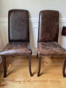 Eight Lillian August Distressed Leather Dining Chairs