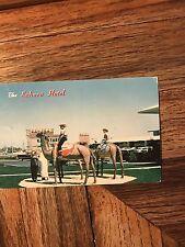 Sahara Hotel Casino Camel Statues Old Cars Post Card Las Vegas 1950's FS-88