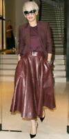 Women's Genuine Lambskin Pure Leather Long Skirt Stylish Flare Belted Burgundy