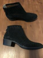 Lucky Brand Women's Bergyn Black Perforated Suede Booties Size 7.5