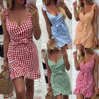 Women Plaid Strapped Mini Dress Ladies Ruffle Warp Dress Party Cocktail Clubwear