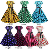 50s 60s Women Vintage Retro Polka Dot Rockabilly Swing Pinup Evening Party Dress