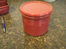 Longaberger Woven Traditions Pottery Paprika One Pint Salt Crock w/Lid-Usa