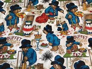 Vintage Paddington Bear Official Fabric Cricket/Cake/Painting Woven Mix FQ 56cm