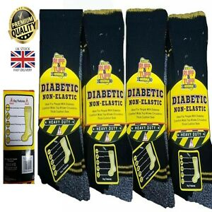 Men's Diabetic Work Socks Ruff & Tuff Non-Elastic Heavy Duty Extra Wide Top 6-11