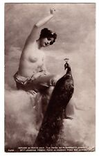 RPPC 1913 Risque NUDE MODEL w PEACOCK Vintage French Postcard REAL PHOTO PC