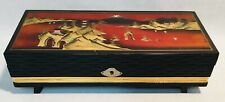 Vintage Wooden handpainted musical ballerina Jewelry box case made in Japan