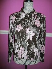 Phase Eight Brown pink beige silver floral sequins stretch shirt blouse M 12 14