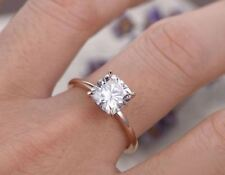 Engagement Ring 10k Rose Gold 1.50ct Cushion shape Sparkle Moissanite Solitaire