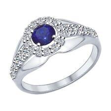 MIRKADA Damen 925 Silber Ring mit Saphir und Zirkonia, blau, Gr. 52 * NEU *