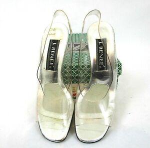 J. Renee Heels Size 7.5 N Prism Clear Vinyl Open Toe Sling Back # 6153 Party!