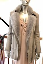New REISS Grey Coats NICOLE Gray Real Fox Fur SHEARLING Jacket Coat $1700