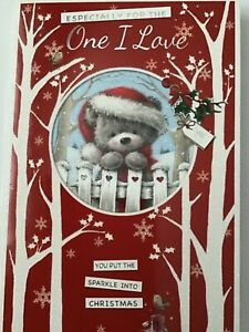 Especially For The One I Love at Christmas. Sparkle Teddy. Large Card New
