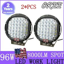 2X 9 Inch 96W Cree Led Driving Spot Work Light Jeep 4WD Off-road HID Round Black
