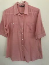 🧡 SPORTSCRAFT womens Coral Pink White Stripe Blouse Shirt Fitted Work Sz 12 M