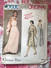 VOGUE 1447 CHRISTIAN DIOR sewing pattern COMPLETE vintage Dress Cape m