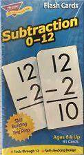 """Trend Enterprises Subtraction 0-12 Flash Cards, 91 cards,3"""" X 5 7/8"""" New"""