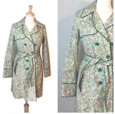 ODILE Anthropologie Pastel Floral Belted Trench Coat All Cotton Sz 6 RicRac Edge