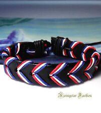 Men's American Flag Color Red White Blue Surfer Biker Leather Bracelet Wristband