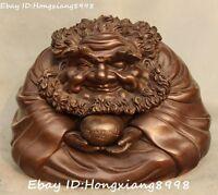 "10"" Chinese Pure Bronze Rohan lohan Arhat Damo Bodhidharma Dharma Buddha Statue"