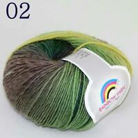 AIP 1Ballsx50g Rainbow Hand DIY Yarn Knit Shawls Wrap Crochet Knitwear Yarn 02