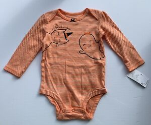 NWT Carter's 9 Month Halloween Ghost Cat Orange Striped One Piece