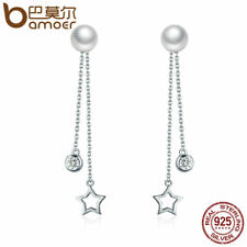 Bamoer Real S925 Sterling Silver Stud CZ Earrings Star Dangle For women Jewelry