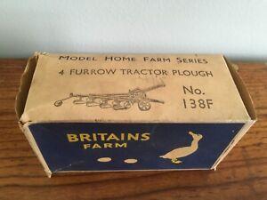 Britains Farm 4 Furrow Tractor Plough No 138F . Boxed