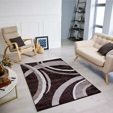 Modern Design Brown Cream Rug Large Soft  Quality Thick Pile Living Room Rugs
