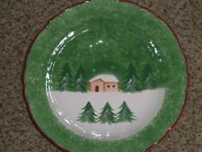 THE CELLAR  Log Cabin Christmas Holiday Large Serving Bowl EC