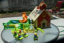 Vintage Fisher Price Play Family School House #923 1971/Playground/Mini Bus FPLP