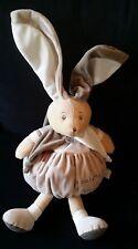 """Doudou Lapin 45 cm """"ma cachette à pyjama"""" beige blanc La grande récré b8"""