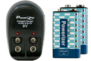 V-228 2 Bay 9 Volt Charger + 2-Pack 9 Volt Powerizer NiMH Batteries (200 mAh)