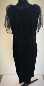 Black Bodycon Dress with Tuelle Neckline - Size 12-14 - BNNT