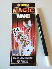 "MAGIC WAND 10"" Plastic Magician Wizard 7 Tricks Kid Black White Tip Stick Toy"