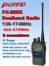 Puxing PX-888K Dualband 2 way radio dual display + PTT Earpiece  Black Color
