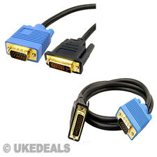 2.5M Gold DVI-I to VGA Video TFT Monitor Laptop Converter Adapter HDTV LCD Cable
