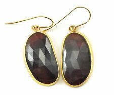 Red Sapphire Earrings Dark Natural Faceted long Bezel 14k Solid Gold Drops