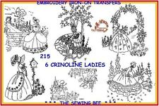 215 - 6  Crinoline Lady - Ladies Embroidery  IRON-ON Transfers Patterns