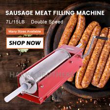 Hakka 15lb7l Sausage Stuffer 2 Speed Stainless Steel Horizontal Meat Filler